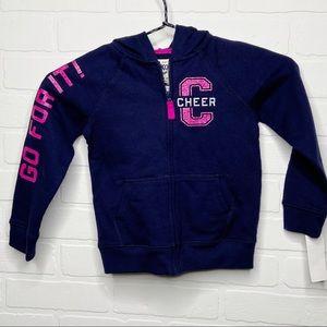 OshKosh B'gosh zip hoodie sweatshirt cheer 4T NEW